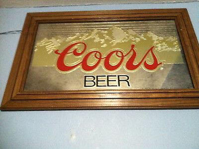 Vintage 1983 Coors Beer Mirror, Wood Framed Bar/Pub Sign,