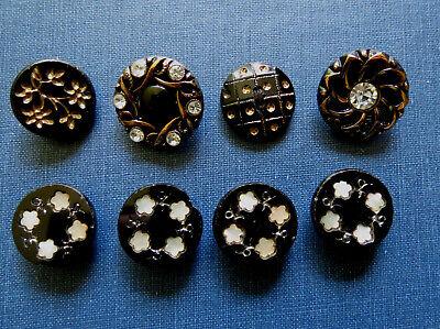 Unique Black Buttons 12 Fancy Black Glass Buttons Glossy Black Glass Buttons Fancy Black Dome Buttons Vintage Black Czech Buttons