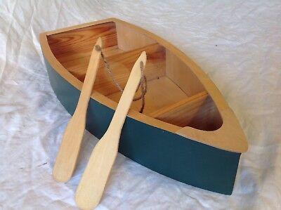 """21"""" Wooden Row Boat Wall Shelf W/Oars"""