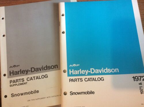 VTG 1971-1972 Harley Davidson SNOWMOBILE PARTS CATALOG AND SUPPLEMENT