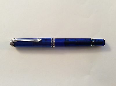 PELIKAN M605 MARINE BLUE DEMONSTRATOR FOUNTAIN PEN WITH 14K NIB CHOICE