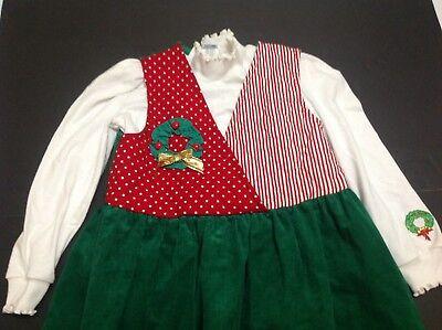 Vintage Christmas Girls Sz 6X Jumper & Shirt Dress Made USA Ruth Scharf