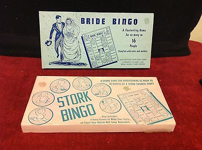 Vintage RARE PAIR Bride Party Stork Shower Bingo Board Games 50s-60s Bridal - Couple Wedding Shower Games