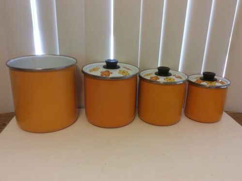 VTG Orange Mod Floral Enamelware Canister Set Of 4 Mid Century Kitchen
