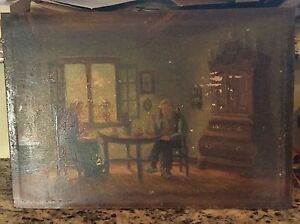 Very old oil painting on wood