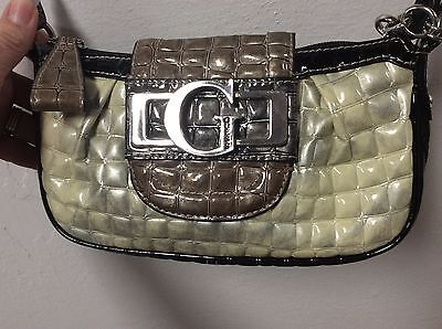 Guess Shoulder Bag Handbag Silver Black Gray Cross Body Double Handles H3