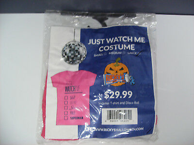 JUST WATCH ME T-SHIRT DISCO BALL WOMEN HALLOWEEN COSTUME LARGE