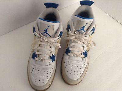 Nike Men's White/Blue Af-1 Flight Leather Best Air Jordan Basketball Shoes sz