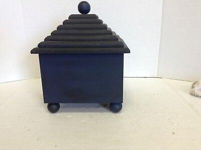Navy Blue Square Trinket Storage Keepsake Jewelry Decorative Catch All Box Lid