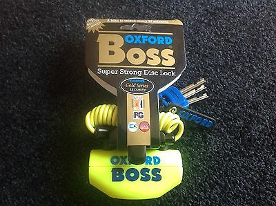 Oxford Boss Yellow Motorcycle, Motorbike Security Disc Lock Brand New R.R.P. 45