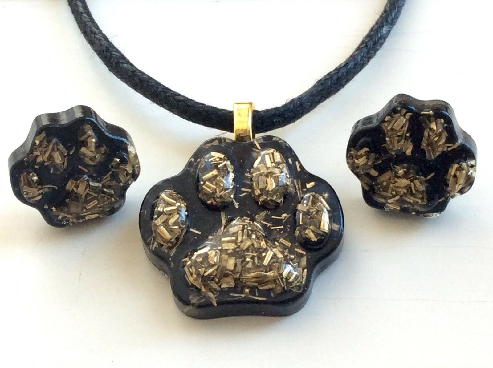 Orgone Cat Paw Pendant Necklace Earrings Black Tourmaline EMF Protection USA - $14.99