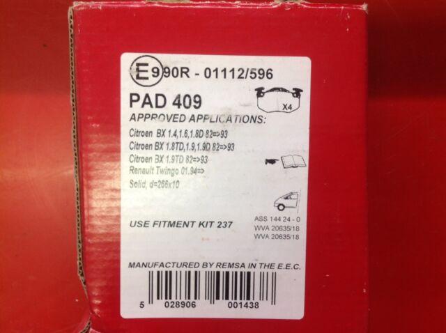 APEC FRONT BRAKE PADS TO SUIT CITROEN BX VISA C15 PAD409
