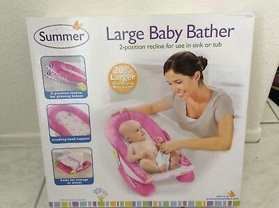 (Summer Infant Large Comfort Baby Bather Recline in Sink or Tub Foldable - Pink)