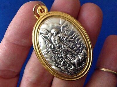 Saint Michael Archangel - Large ARCHANGEL ST MICHAEL Saint Medal TWO Tone Metal PROTECTION 1-3/4
