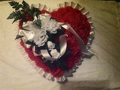 - Red and White Silk Flower Heart Spray Arrangement for Funeral