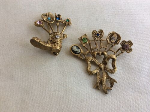 Victorian Revival Snake Pansy Cameo heart Stickpin Boot and Bow Brooch Lot