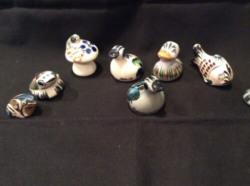 MEXICAN, LOT/8, MINIATURES, ANIMAL POTTERY ART,