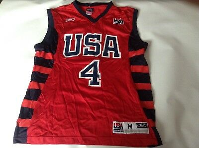 Mens Adult Genuine Team USA Basketball Jersey Vest Top Size Medium Vgc Iverson