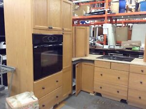 used kitchen furniture. gently used oak kitchen at the hfh restore furniture i