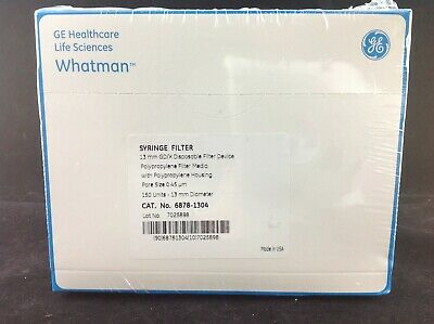 Whatman 6878-1304 Syringe Filter 13mm Gdx Disp. Flt Device 0.45um 150pk Sealed