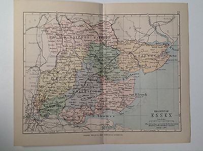 Essex Antique County Map, 1885, Coloured, Atlas, Saffron Walden, Epping, Harwich