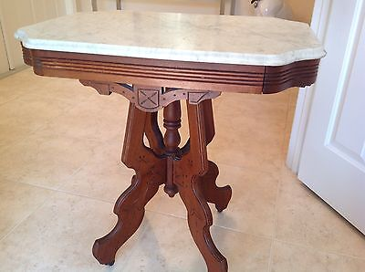 Antique 1800's Walnut Carved Victorian Eastlake Marble Top Table