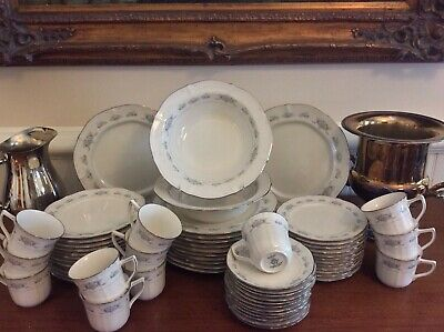 Large Noritake Ivory Fine China Dinner Service Set for 12 Scalloped Platinum Rim Fine China Platinum Dinnerware Set