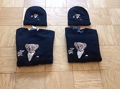 Polo Ralph Lauren Martini Tuxedo Bear Wool Sweater With Matching Skully Hat