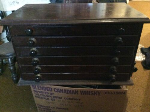 Antique Spool Cabinet 6 Drawers With Vintage Watch Parts 22x12x12 Solid Wood