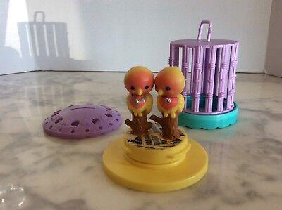 Vintage Kenner Littlest Pet Shop Kissing Love Birds in Bird Cage Lovebirds 1992
