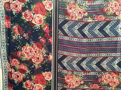 "Double border print flower chevron polyester chiffon fabric on blue, 58""w, BTY"