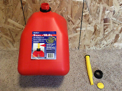 Scepter Red Plastic 5 Gallon Gas Can More Recent Style Vented Through The Spout