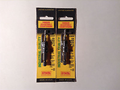 Hanson 42858 Adjustable Countersink for Screw Sizes #8 & #9 (2 Pack)