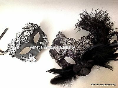 Roman Exquisite Lace feather Masquerade ball Couple mask Halloween Costume party - Roman Halloween Costumes Couples