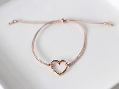 Armband Herz offen rosegold Neu Macrame Freundschaft Damen Makramee design ()