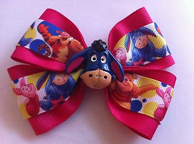 "Girls Hair Bow 4"" Wide Winnie the Pooh Hot Pink Ribbon Eeyore Alligator Clip"