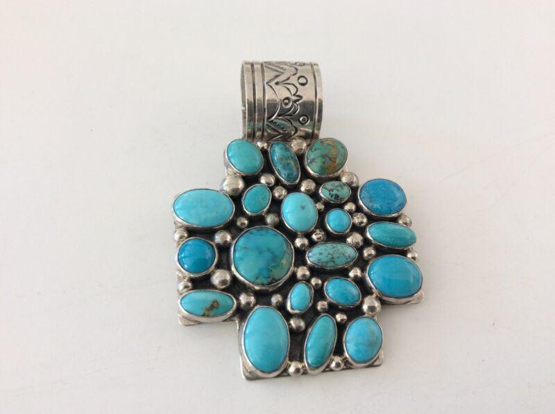 Nakai  Sterling Silver Turquoise Large Pendant 66.7 gram