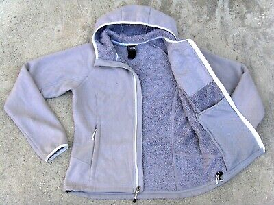 The North Face hooded fleece lined Jacket women's M Light gray