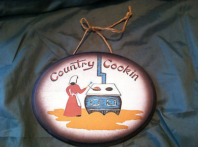 Early American Country Cookin Cooking Wall Plaque Decorative Collectible