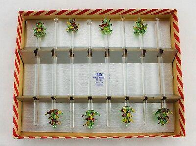 Vintage Christmas Party Swizzle Sticks Glass Handmade Barware Drink Stirs (253) (Party Swizzle)