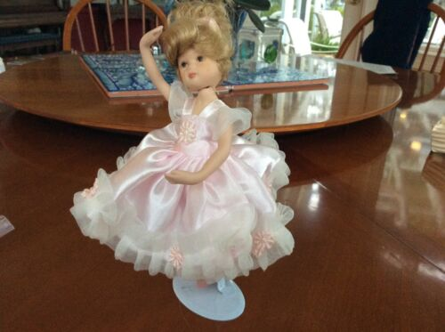 Porcelain ballerina doll 10'' high with stand