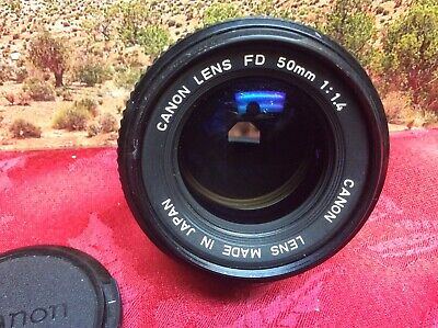 Canon FD 50mm 1:1.4 Camera Lens with Caps - Clean and clear