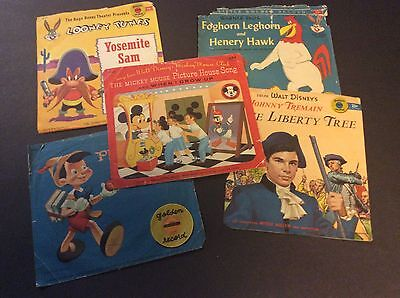 Lot of 5 Simon and Schuster LITTLE GOLDEN RECORDS Pinocchio, Mickey Mouse Club
