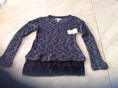 Girls Size 10 12 Canyon River Blues Grey Black Long Sleeved Sweater Top Perfect