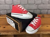 new concept eef6b 51be1 CONVERSE KIDS UK 2 EU 18 RED 1ST STAR II CRIB CANVAS TRAINERS