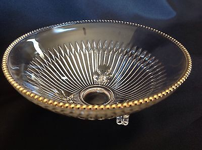Clear Glass Candy Dish Unique Gold Colored Trim 3 Footed (Gold Colored Candy)