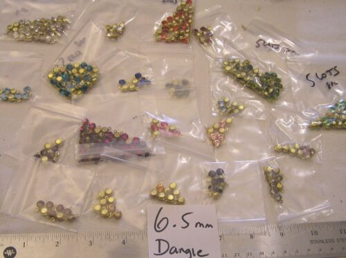 8 Vtg Brass Set 6.5mm 1 Loop Dangle Drop Swarovski Rhinestone Jewelry Craft Lot