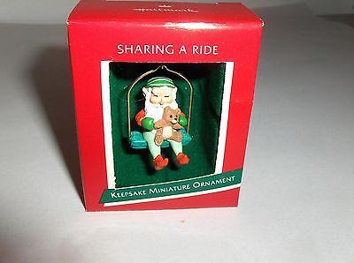 Sharing A Ride`1989`Miniature-Elf Sharing A Ride On Swing,Hallmark Ornament->New