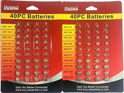 80  Assorted Super Alkaline Button Batteries Coin Cell Set Watch Calculator