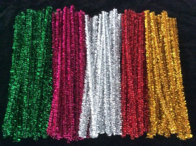 Christmas Glitter Pipe Cleaners - Chenille Tinsel Stems 6mm x 15cm 100pk